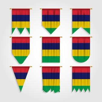 Drapeau de l'île maurice dans différentes formes, drapeau de l'île maurice sous différentes formes
