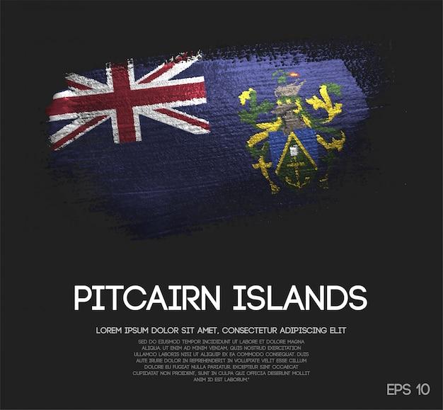 Drapeau des îles pitcairn en paillettes scintillantes