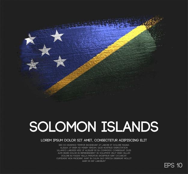Drapeau des îles salomon fait de peinture de pinceau d'étincelle de scintillement