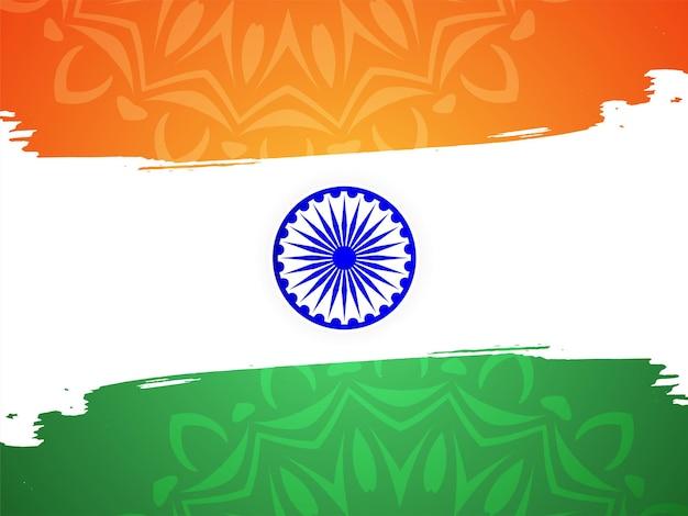 Drapeau indien abstrait thème fête de l'indépendance salutation vecteur de fond