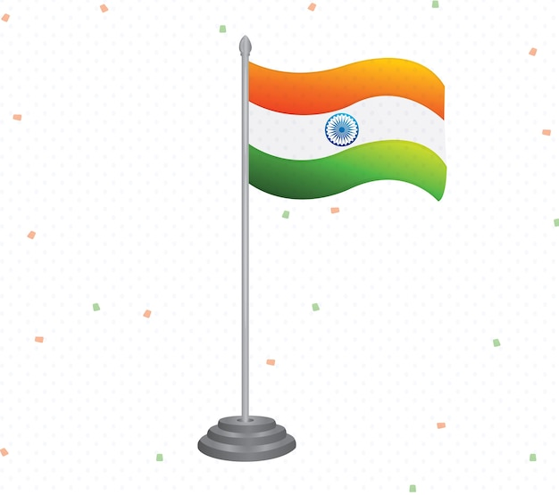 Drapeau indien agitant vecteur tricolore isolé