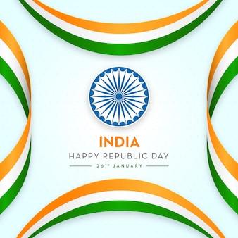 Drapeau indien, concept, république, jour, trio, couleurs, rubans