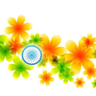 Drapeau indien fait de fleurs