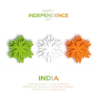 Drapeau indien tricolore national de fleur d'origami. fête de l'indépendance indienne.