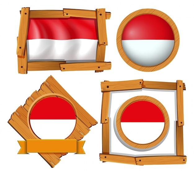 Drapeau de l'indonésie dans différents cadres