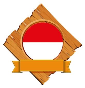 Drapeau de l'indonésie sur planche de bois