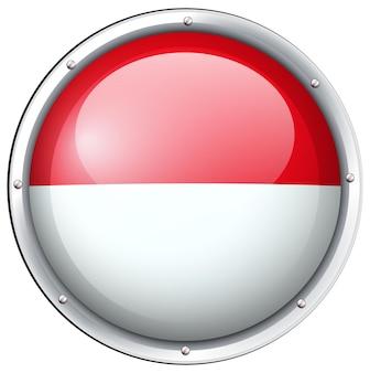 Drapeau indonésien sur badge rond