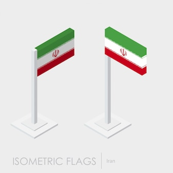 Drapeau de l'iran 3d style isométrique