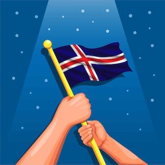 Drapeau de l'islande sur la célébration du symbole de la main le jour de l'indépendance 17 juin concept en dessin animé