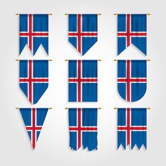 Drapeau de l'islande avec différentes formes, drapeau de l'islande sous différentes formes