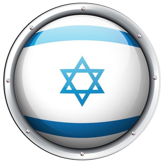 Drapeau d'israël sur badge rond