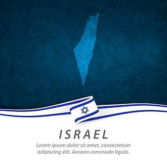Drapeau d'israël avec carte centrale