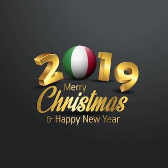Drapeau italie 2019 joyeux noël typographie
