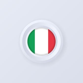 Drapeau de l'italie. bouton italie. étiquette italienne, signe, bouton, badge dans un style 3d.