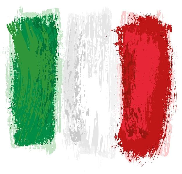 Drapeau italien peint avec un pinceau