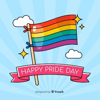 Drapeau de jour de fierté aux couleurs de l'arc-en-ciel