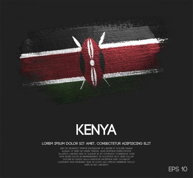 Drapeau de kenya fait de peinture de pinceau de scintillement de paillettes