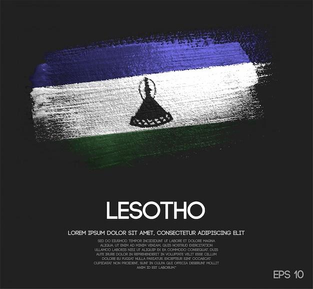 Drapeau de lesotho fait de peinture de pinceau d'étincelle de scintillement