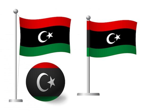 Drapeau de la libye sur l'icône de poteau et boule