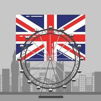 Drapeau de londres british ferris wheel recreation landmark et bâtiments