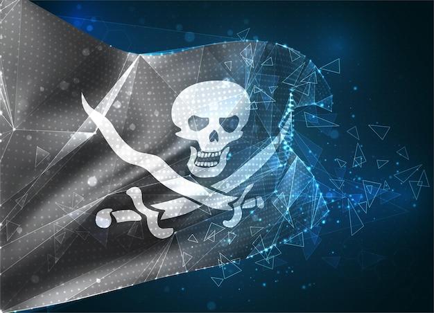 Drapeau de maillage vectoriel 3d d'un crâne de pirate sur un objet 3d abstrait virtuel noir à partir de polygones triangulaires sur fond bleu