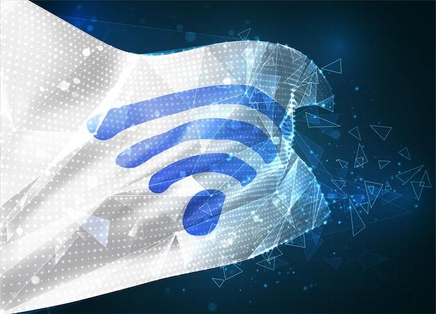 Drapeau de maillage vectoriel 3d de la vague wi-fi, objet 3d abstrait virtuel à partir de polygones triangulaires sur fond bleu