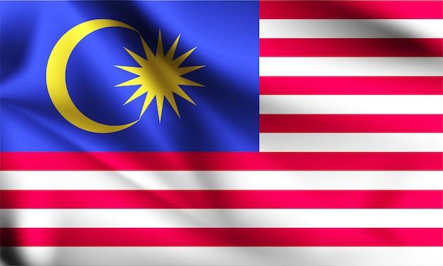Drapeau de la malaisie dans le vent. partie d'une série. agitant le drapeau de la malaisie.