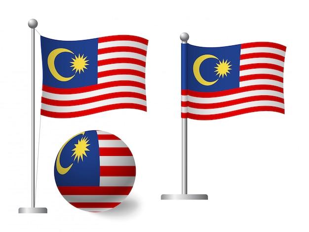 Drapeau de la malaisie sur l'icône de poteau et boule