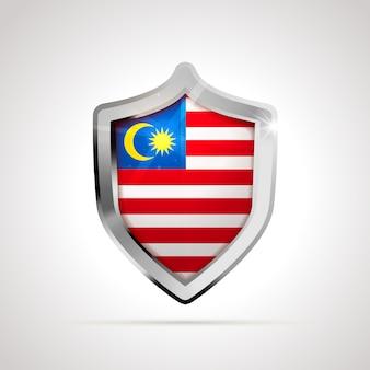Drapeau de la malaisie projeté comme un bouclier brillant
