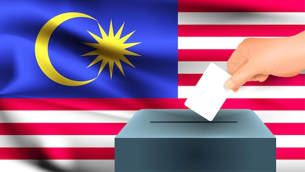 Drapeau de la malaisie, vote à la main des hommes avec fond d'idée de concept de drapeau de la malaisie