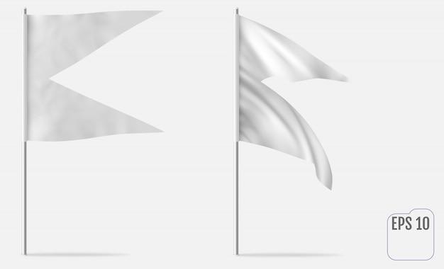 Drapeau de maquette horizontale en queue d'aronde ou en queue d'aronde. modèle réaliste de drapeau, fanion ou bannière blanc. se développe dans le vent.