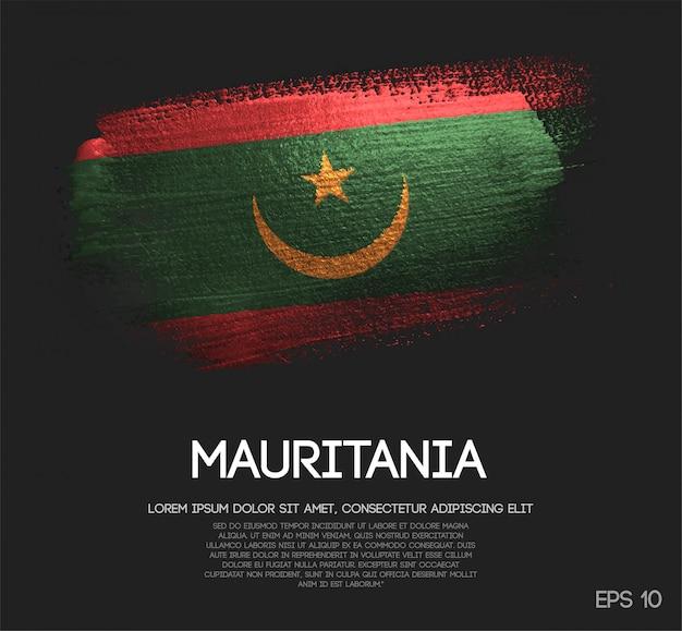 Drapeau de la mauritanie fait de la peinture de pinceau d'étincelle de scintillement
