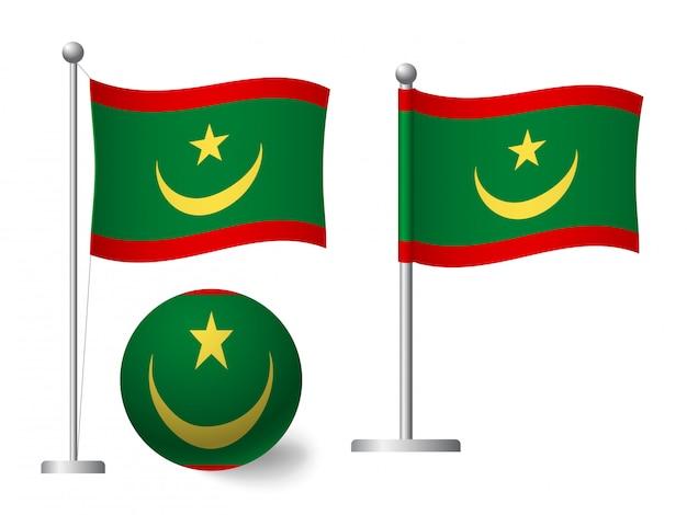 Drapeau de la mauritanie sur l'icône de poteau et boule