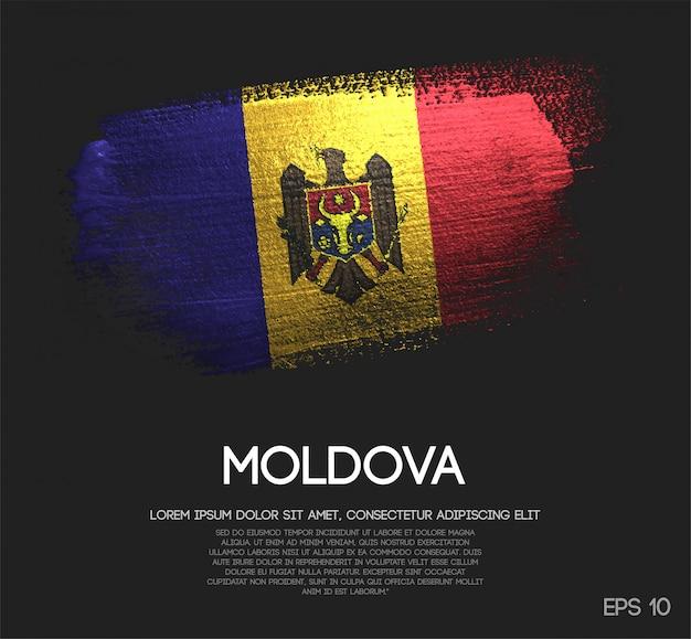 Drapeau de la moldavie fait de peinture de pinceau de scintillement de scintillement