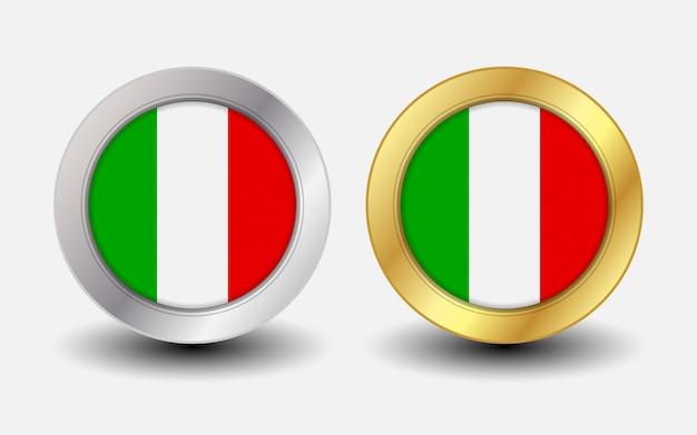 Drapeau national italien avec forme ronde premium