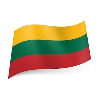 Drapeau national de la lituanie jaune rayures horizontales vertes et rouges