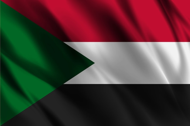 Drapeau national soudanais, ondulant, fond soie