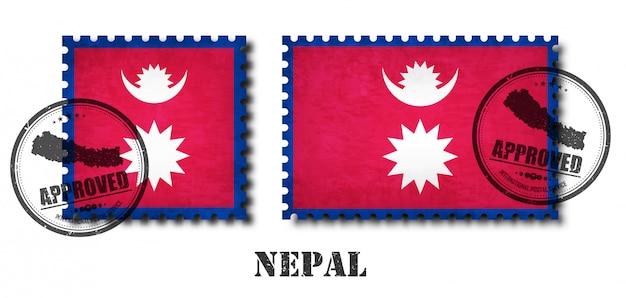 Drapeau népalais ou népalais modèle timbre-poste