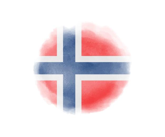 Drapeau de la norvège aquarelle