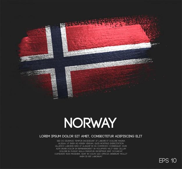 Drapeau de la norvège fait de peinture de pinceau d'étincelle de scintillement