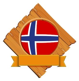 Drapeau de la norvège sur planche de bois
