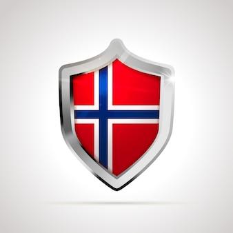 Drapeau de la norvège projeté comme un bouclier brillant