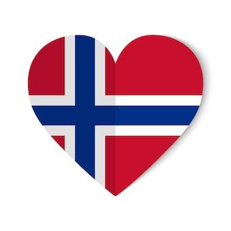 Drapeau de la norvège avec style origami sur fond de coeur.