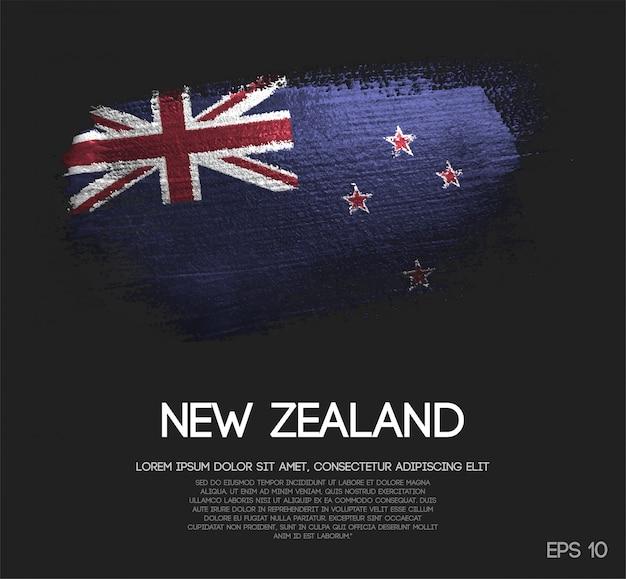 Drapeau de la nouvelle-zélande fait de peinture de pinceau de scintillement de scintillement