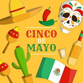 Drapeau et objets traditionnels de cinco de mayo dessinés à la main