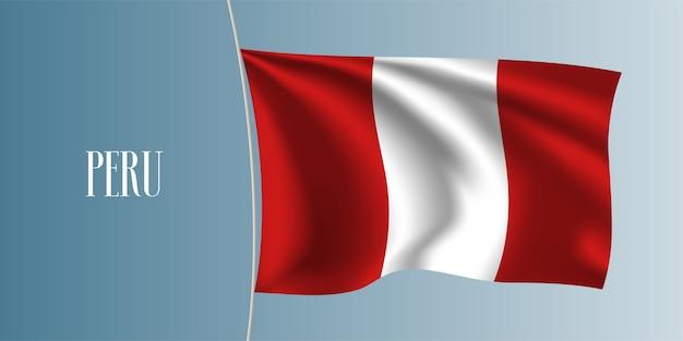 Drapeau ondulant du pérou. symbole national péruvien emblématique