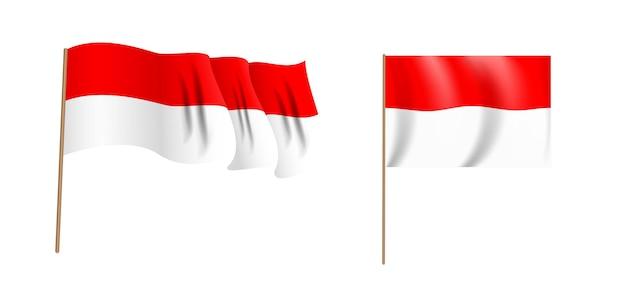 Drapeau ondulant naturaliste coloré de la république d'indonésie.