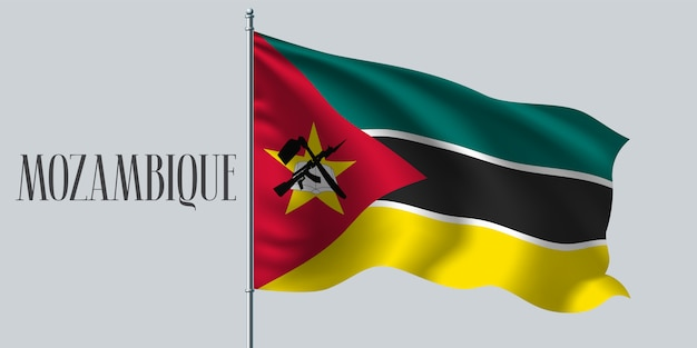 Drapeau ondulé du mozambique