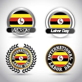 Drapeau de l'ouganda avec le vecteur de conception de jour de travail