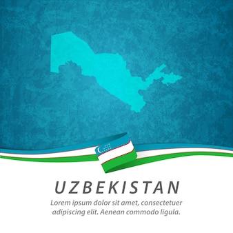 Drapeau de l'ouzbékistan avec carte centrale